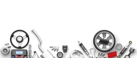 Diverse auto onderdelen en accessoires, geïsoleerd op een witte achtergrond. 3d illustratie
