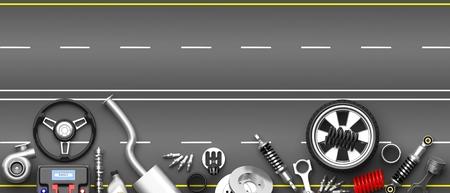 Verschillende auto-onderdelen en accessoires, geïsoleerd op grijze weg achtergrond. 3D illustratie