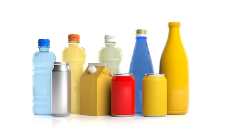 Variety of beverages packages on white background. 3d illustration