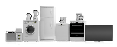 Set of home appliances on white background. 3d illustration Stok Fotoğraf