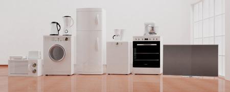 Set of home appliances on wooden floor. 3d illustration