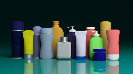 Variety of personal care products packages on blue green surface. 3d illustration