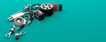 車の部品は、緑の背景 - コピー領域に分離されました。3 d イラストレーション