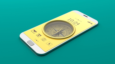 gps device: Compass on a smartphone screen, green background. 3d illustration
