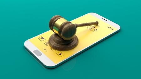 supreme court: Judge gavel on a smartphone on green background. 3d illustration
