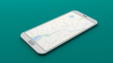 display: Smartphone with map on the screen, green background. 3d illustration Stock Photo