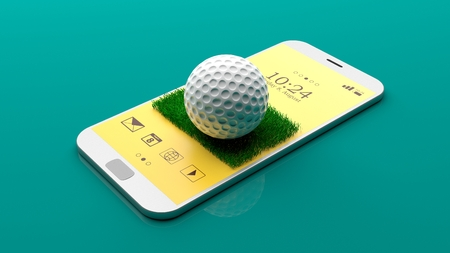 Golf ball on a smartphone screen on green background. 3d illustration