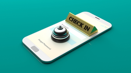 reservation: Reception desk bell on a smartphone screen on green background. 3d illustration Stock Photo