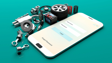 Car parts on a smartphone screen on green background. 3d illustration