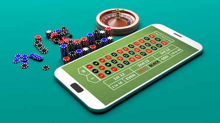 Roulette on a smartphone on green background. 3d illustration
