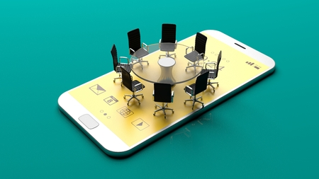 wireless: Office meeting on a smartphone on green background. 3d illustration