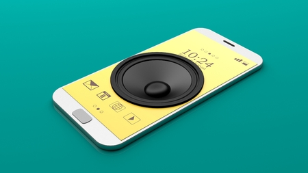 electronic music: Speaker on a smartphone on green background. 3d illustration Stock Photo