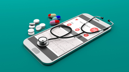 Telemedicine concept. Stethoscope on a smartphone isolated on green background. 3d illustration Stock Photo