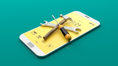wireless: Tools on a smartphone on green background. 3d illustration