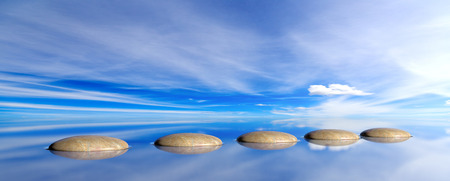 Zen pebbles on a blue sky and sea background. 3d illustration Фото со стока