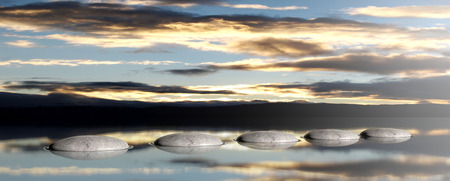 Zen pebbles on a sky and sea background at sunset. 3d illustration