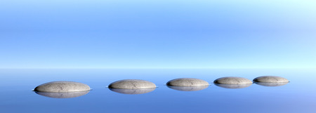 Zen pebbles on a blue sky and sea background. 3d illustration Banco de Imagens