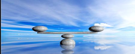 Zen pebbles on a blue sky and sea background. 3d illustration Banque d'images
