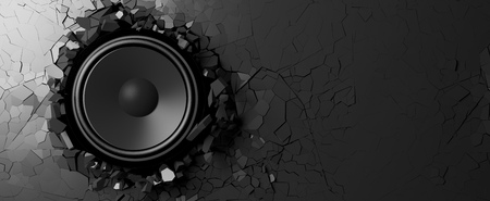 Black wall breaks from the sound of a loudspeaker. 3d illustration Stock Photo