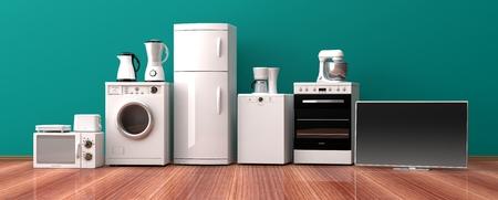 Set of white home appliances on a wooden floor. 3d illustration Archivio Fotografico
