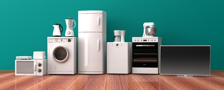 Set of white home appliances on a wooden floor. 3d illustration Banco de Imagens