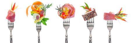 Variedad, frío, cortes, aperitivos, tenedores, blanco, fondo