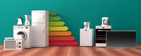 家電製品やエネルギー効率ランキング。3 d イラストレーション