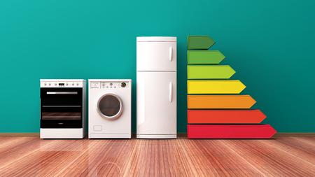 Electrodomésticos y clasificación de eficiencia energética. Ilustración 3d