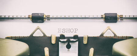 Close-up of word E SHOP on a typewriter sheet Stock Photo