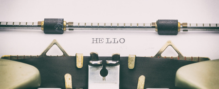 Close-up of word HELLO on a typewriter sheet Stock Photo