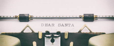 Close-up of DEAR SANTA on a typewriter sheet