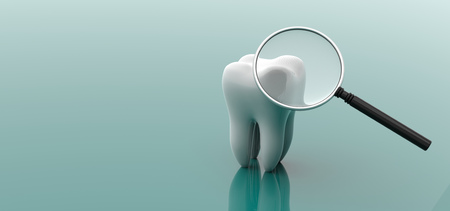 Tooth and magnifying glass isolated on green background. 3d illustration