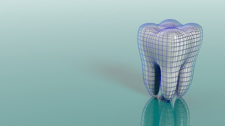 Dental protection concept on green background. 3d illustration