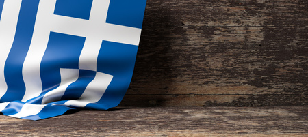 Greece flag on a wooden background. 3d illustration