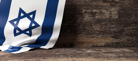 Israel flag on a wooden background. 3d illustration