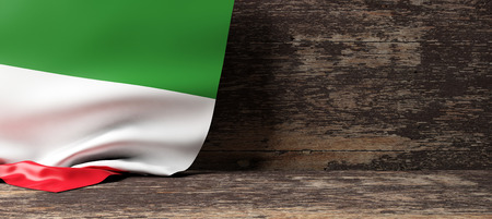Italy flag on a wooden background. 3d illustration