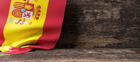 Spain flag on a wooden background. 3d illustration