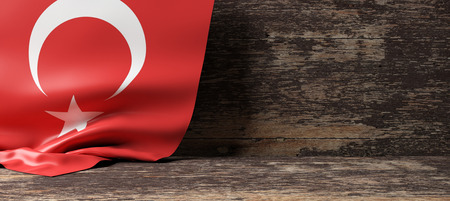 Turkey flag on a wooden background. 3d illustration