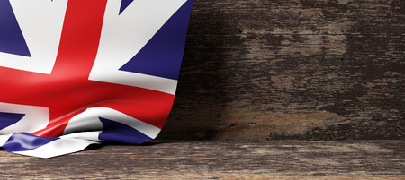 United Kingdom flag on a wooden background. 3d illustration