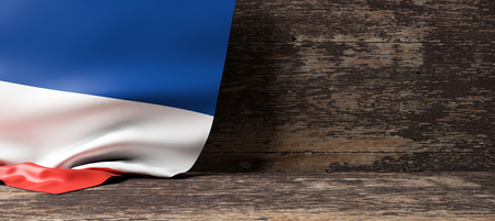 France flag on a wooden background. 3d illustration