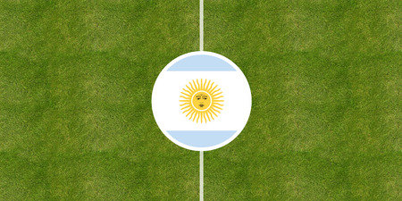 Argentina flag on a soccer field center, top view