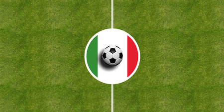 Italy flag on a soccer field center, top view