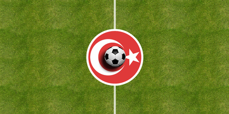 Turkey flag on a soccer field center, top view Stock Photo