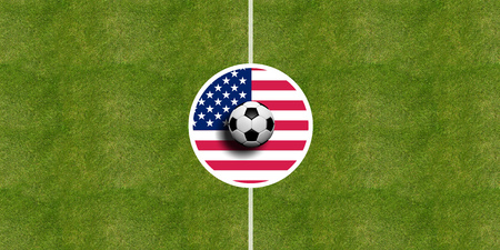 United States of America flag on a soccer field center, top view Stock Photo