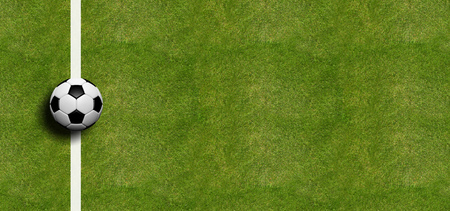Soccer ball on the sideline, field grass background. 3d illustration