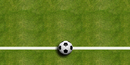 leather texture: Soccer ball on field grass background, top view. 3d illustration Stock Photo