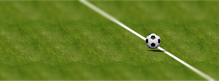 leather texture: Soccer (football) ball on field grass background. 3d illustration Stock Photo