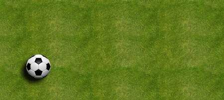 Soccer ball on field grass background, top view. 3d illustration Stock Photo