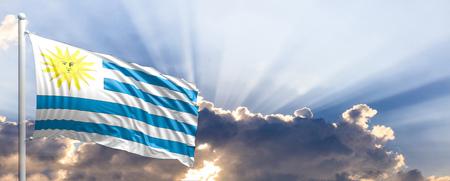 bandera de uruguay: Uruguay waving flag on blue sky. 3d illustration
