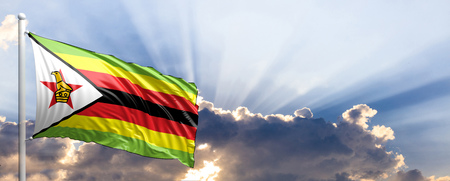 zimbabwe: Zimbabwe waving flag on blue sky. 3d illustration